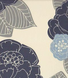 54'' Home Decor Value Print Fabric- Stamped Floral Blue & Gray