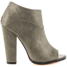 Michael Antonio Women's John - Charcoal PU ($60) ❤ liked on Polyvore featuring shoes, boots, ankle booties, grey, gray booties, peep-toe ankle booties, grey booties, high heel booties and gray boots