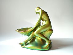 Porcelain Figurine Vintage Zsolnay Pottery Girl  by vintagebiffann, $145.00