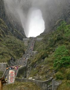 "Tyanmen Mountain, which is located in the province of Hunan (China) has received worldwide recognition for its unique cave ""Heaven's Gate"". To the foot of the cave Tyanmen from the top of a staircase of 999 steps, and to the mountain itself — the so-called ""high road gate"