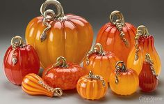"""Ruby & Gold Series, Hand Blown Glass Pumpkins and Squash — Mini 5""""w to Giant 14""""w"""