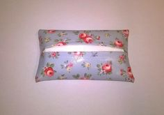 Oilcloth tissue holder, Pale blue floral pattern, pocket size tissue cover, new £3.99