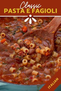 A classic Italian soup, Pasta e Fagioli is a satisfying dish that will warm your body and your soul! Pasta, beans, veggies and a flavorful broth. Italian Soup, Italian Pasta, Italian Dishes, Italian Recipes, Pasta E Fagioli Soup, Cooking Recipes, Healthy Recipes, Healthy Food, Kitchens