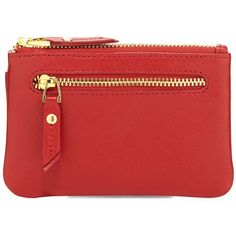 Neiman Marcus Leather Zip-Top Coin Purse (1.370 RUB) ❤ liked on Polyvore featuring bags, wallets, red, credit card holder wallet, leather change purse, leather zip wallet, leather wallets and card holder wallet