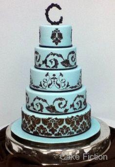 Blue and Chocolate Brown Damask Wedding Cake