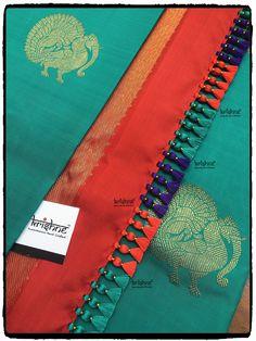 Simple pattu and silk saree kuchu design - Indian Fashion Ideas Blouse Designs Catalogue, Simple Blouse Designs, Stylish Blouse Design, Bridal Blouse Designs, Saree Tassels Designs, Saree Kuchu Designs, Pattu Saree Blouse Designs, Hand Embroidery Videos, Silk Sarees