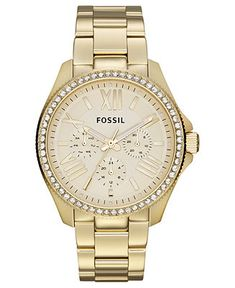 Fossil Watch, Women's Cecile Gold-Tone Stainless Steel Bracelet 40mm AM4482 - Women's Watches - Jewelry & Watches - Macy's