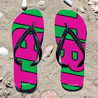 Triathlon Pink TRI on Green Flip Flops - Kick back after a triathlon with these great flip flops! Fun and functional flip flops for all triathletes.