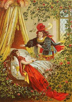 Vintage Ephemera: Children's book illustration, Sleeping Beauty