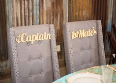 Wedding, Ahoy! . . . Nautical Chair Signs for the Bride and Groom's Sweetheart Table & Gold Signs for the Head Table | Unique Table Signs and Event Decor, Gifts & Accessories at www.ZCreateDesign.com or ZCreateDesign on Etsy
