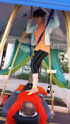 Alyssa from Heeling Sole massaging at a farmers market! Massage Business, Great Names, Massage Tools, Farmers Market, San Antonio, Barefoot, Tent, Ideas