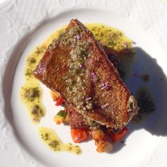 Pan Seared Pickerel, Ratatouille & Bagna Cauda Falafel, Ratatouille, Steak, French Toast, Good Food, Restaurant, Breakfast, Kitchen, Twist Restaurant