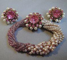 Amazing Rare Bracelet Signed Miriam Haskell Wide Pearl Cuff Crystals Rhinestones Bracelets