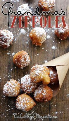 Grandma's Zeppole {Quick & Easy} Recipe! desserts, Grandma's Zeppole {Quick & Easy} - The Cottage Market Mini Desserts, Just Desserts, Delicious Desserts, Yummy Food, Gourmet Desserts, Health Desserts, Plated Desserts, Desserts With Biscuits, Dessert Cannoli