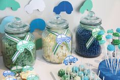 sewn paper car garland backdrop; car silhouette candy jar labels + cupcake toppers
