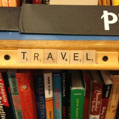 A cute and resourceful way to label book shelf.