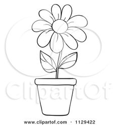 Cartoon Of An Outlined Potted Daisy Flower