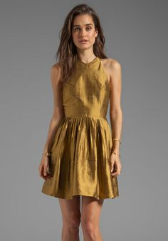HARLYN Pleated Cut Out Fit & Flare Dress in Gold at Revolve Clothing - Free Shipping!