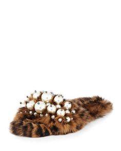 Miu Miu Pearly Fur Slide Sandal, Leopard