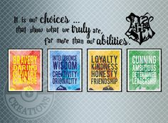 Harry Potter House Traits Watercolor Style Print with Decal- Hogwarts, Gryffindor, Slytherin, Ravenclaw, Hufflepuff, Dumbledore, Horcrux, HP