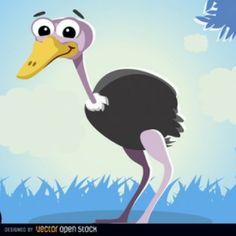 De dibujos animados de avestruz animal en la selva