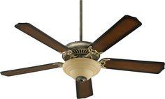 "Capri III Family 52"" Antique Flemish Ceiling Fan with Light Kit 77525-9422"