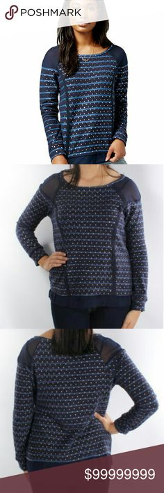 💥MAISON JULES💥SWEATER NEW~ MAISON JULES navy blue lightweight sweater featuring lighter blue stripes and gold foil dots allover, lace trim detail and sheer panels at the shoulders and hem. ☺  Self-88% cotton 12% polyester/Contrast-100% polyester.  Dress up or down...if you LOVE 💙 blue and 💥 bling, this one's for you❗ MAISON JULES Sweaters Crew & Scoop Necks