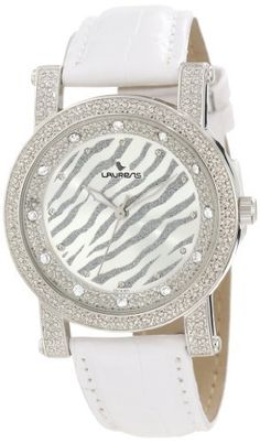 Laurens Women's GS13L901Y Fashion Analog White Zebra Dial Crystals Leather Watch Laurens. $27.95. White leather bracelet. Quartz movement. Metal case with 12 crystals on bezel ring. Water resistant to 30 meters(99 feet). White and grey zebra print dial
