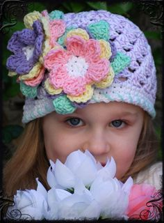-Boutique Crochet Spring Easter Bonnet Lavender Speckled Egg Skull Cap ....