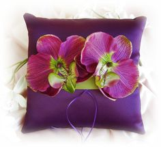 Wedding Pillow Purple Plum Green - Weddings Ring Bearer Pillow Eggplant and Green Orchids - weddings ceremony decor