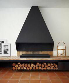 Mod Fireplace with Wood Beneath