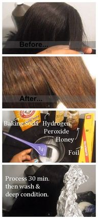 I wish I knew this sooner....DIY HAIR | COLOR :: How to LIGHTEN Your Hair NATURALLY :: Mix Baking Soda, Hydrogen Peroxide Honey to a goopy consistency. Then apply on hair w/ a brush like normal developer. Process 30 min. Wash deep condition. Done! #fashion