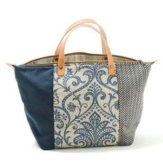 Handbag Dubrovnik Denim Ivory Blue Floral Zipper top