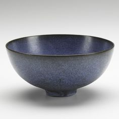OTTO AND GERTRUD NATZLER; Bowl, mottled matte blue glaze, USA, 1960s; Signed NATZLER J395; 2 1/2'' x 5 1/2''