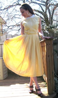 vintage 50s 60s yellow gingham summer day by lovestoryvintage, $58.00
