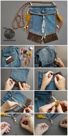 Como hacer un bolsito reciclando un tejano.Gloria-Fort