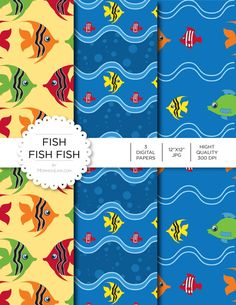 """Digital Paper - Fish Fish Fish - Instant Download - Digital Artwork by mormonlinkshop  5.00 USD  Digital paper is a bit of a misnomer as no paper is involved! You can use these JPEG versions of 12""""x12"""" papers to create backgrounds photo mattes die-cuts etc. just as you would have used a traditional piece of paper. Of course you're able to use these over and over again no longer will you worry about making the """"wrong cut"""" and wasting your supply. Great for all ages classes activities etc…"""