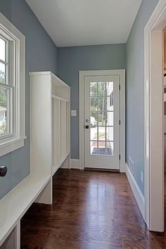 Nimbus Gray Benjamin Moore in a stunning mudroom area with lockers featured on Remodelaholic.com Grey Paint Colors, Room Colors, House Design, New Homes, Decor, House, Home, Blue Gray Paint Colors, Hallway Paint