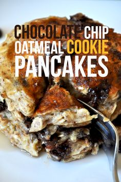 Butter- refined-sugar free Chocolate Chip Oatmeal Cookie Pancakes // minimalist baker