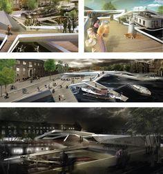 Peatones Iconico puente de la Competencia, Dimitrie Stefanescu, puente peatonal, arquitectura de Amsterdam