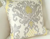 Yellow Gray Pillow Cover Ikat Pillow Throw Accent Cushion 12x16 Inch Damask Pillow. $20.00, via Etsy.
