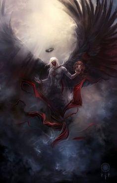 Light And Dark Art Fantasy Deviantart Ideas Dark Fantasy Art, Fantasy Artwork, Fantasy Kunst, Fantasy World, Dark Artwork, Dark Angels, Angels And Demons, Fantasy Wesen, Angel Warrior