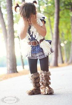This little girls outfit is darling...these boots with the fur are so cute!