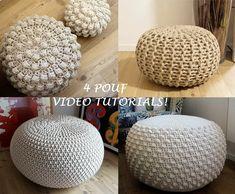 VIDEO TUTORIAL 4 Knitted & Crochet Pouf Floor cushion Patterns, Crochet Pattern, Knit Pattern Knitting Crochet pattern by isWoolish Pouf En Crochet, Crochet Pouf Pattern, Knitted Pouf, Crochet Cushions, Crochet Pillow, Crochet Floor Cushion, Crochet Home, Christmas Knitting Patterns, Knit Patterns