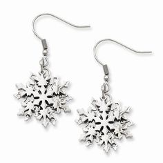 """NEW CHISEL STAINLESS STEEL POLISHED SNOWFLAKE 6.25g DANGLE EARRINGS .80"""" X 1.55"""" #Chisel #DropDangle"""