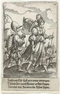 Marketenster en jongen met een dode haan, Virgilius Solis, 1524 - 1562