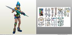 Papercraft .pdo file template for League of Legends - Arcade Riven.