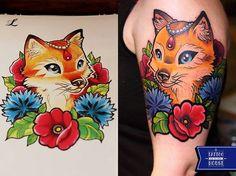 #neo #traditional #tattoo #fox