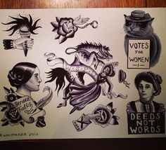 Suffragette tattoo flash by Rose Whittaker – girl power tattoo Feminist Tattoo, Girl Power Tattoo, History Tattoos, Ink Addiction, Flash Art, Great Tattoos, Tattoo You, Traditional Tattoo, Tattoo Inspiration