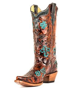 Women's Whiskey Marble Brown/Turquoise Cross Boot - R1019